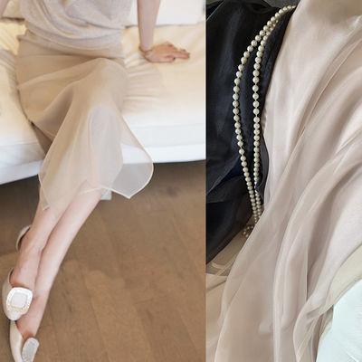 珠贝色欧根纱半身裙女2020夏季新款高腰修身垂感开叉包臀中长裙