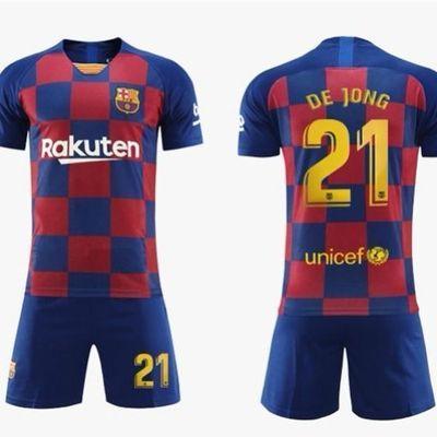 巴萨球衣19-20成人儿童主场10号梅西巴萨罗那足球服套装队服定制