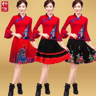 纤伽广场舞服装新款套装2020春夏季中老年女舞蹈演出成人跳舞衣服