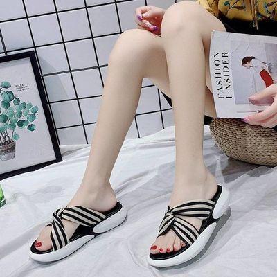 蝴蝶结拖鞋女夏外穿2020新款平底厚底中跟防滑韩版仙女网红凉拖鞋