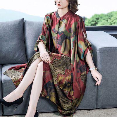 20春季大码女装复古宽松茧型真丝缎印花蝙蝠袖长款开衫民族风外搭