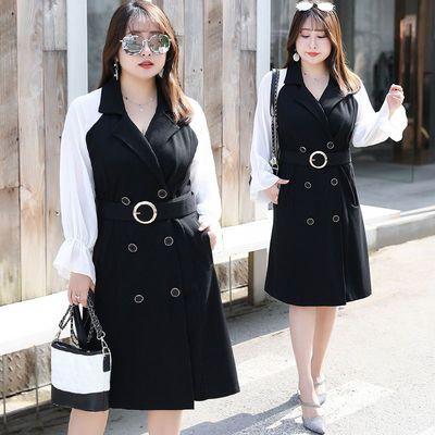 秋装新款裙子120-200斤胖MM加肥加大码女装法式桔梗连衣裙XL-4XL