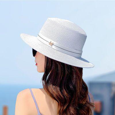 夏季草帽女沙滩度假法式平顶礼帽时尚大帽檐太阳帽英伦防晒遮阳帽