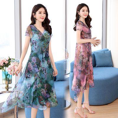 2020夏季新款中老年女装复古国风连衣裙气质宽松妈妈装裙子