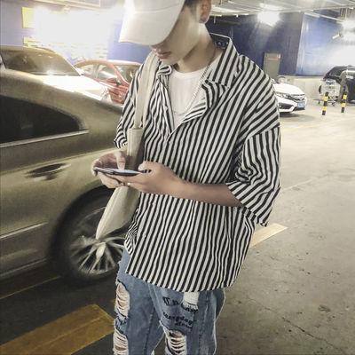 【精品】条纹衬衫男短袖夏宽松七分袖外套韩版青少年衬衣学生寸衫