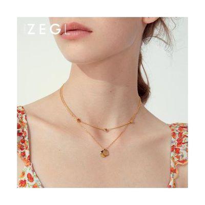 ZENGLIU圆片叠戴双层钛钢项链女ins简约小众星星颈链锁骨链潮网红