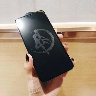 苹果X卡通潮影钢化膜8全屏xr/Xs Mas闪钻息影iPhone6s/7plus彩膜