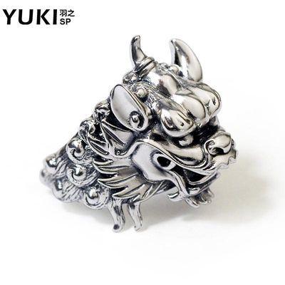 YUKI个性霸气男士925银饰品复古貔貅王泰银戒指环食指戒男生礼物