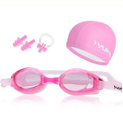 正品高清防水防雾平光泳镜潜水男女透明长发PU涂层游泳帽游泳眼镜