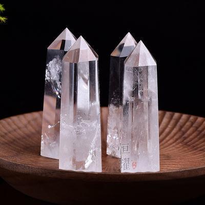 天然白水晶原石能量柱摆件消磁净化家居办公室风水镇宅辟邪装饰品