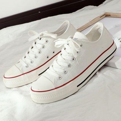 环球黑色帆布鞋ins女夏百搭低帮学生韩版布鞋黄板鞋初中生白球鞋