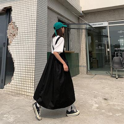 夏季学院风裙套装甜美小花背带连衣裙女学生韩版宽松中长款吊带裙