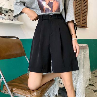 黑色高腰直筒西装五分裤女宽松显瘦2020韩版新款夏休闲阔腿短裤潮