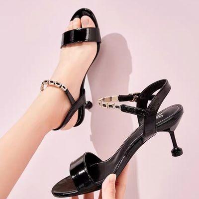 红清挺新款凉鞋女高跟鞋细跟女士凉鞋子韩版一字扣露趾妈妈女鞋