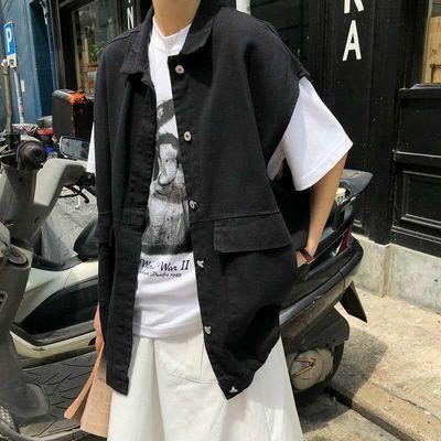 2019夏季韩版BF原宿风宽松中长款工装无袖牛仔马甲外套上衣女学生