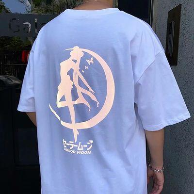 男士短袖t��韩版潮流ins日系学生宽松上衣半袖港风夏季反光五分袖