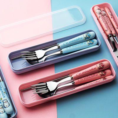 可爱陶瓷不锈钢餐具三件套户外旅游便携筷子勺子叉子学生餐具套装