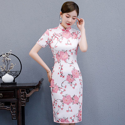旗袍女中长款夏季女装改良2020新款妈妈装祺旗袍裙中国风复古高档—品牌女装网
