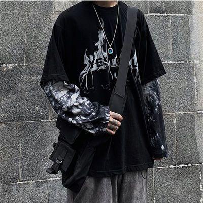 上新暗黑丧系长袖T恤男士假两件扎染19SS嘻哈潮牌学生INS拼接宽松