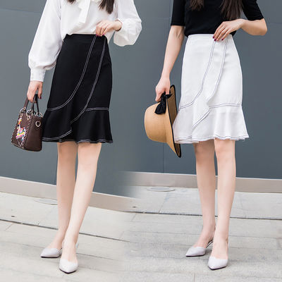 59649/半身裙子女春夏2021款女流行中长款荷叶边不规则高腰包臂裙鱼尾裙