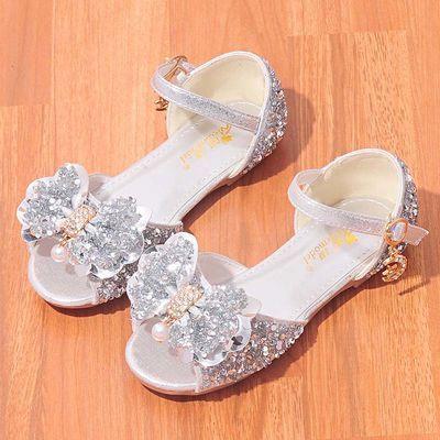 女童凉鞋2020夏季新款时尚宝宝公主鞋闪钻水晶鞋小学生舞台演出鞋