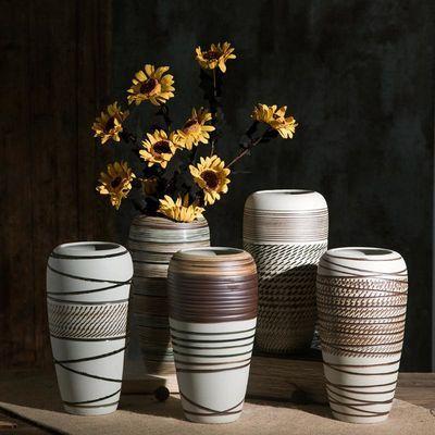 景德镇陶瓷花瓶粗陶罐小号复古瓷器禅意花器客厅摆件创意水培插花