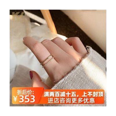 纯银戒指女双排时尚简约个性开口网红素圈食指环日系轻奢尾戒潮