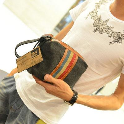 新款韩版手包男女手拿包帆布女士休闲手抓包潮便携小包包手机零钱