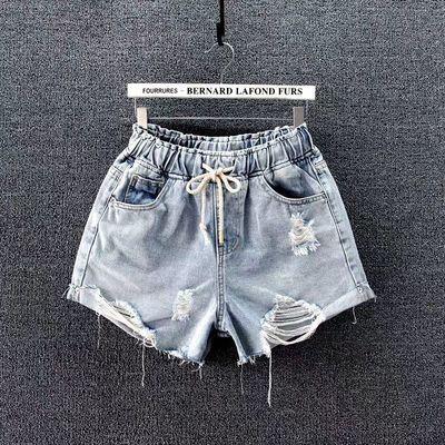 牛仔短裤女2020新款潮高腰显瘦宽松大码夏季薄款松紧腰破洞短裤女