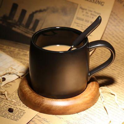欧式咖啡厅磨砂创意马克杯带勺 黑色咖啡杯配底座 简约陶瓷水杯子