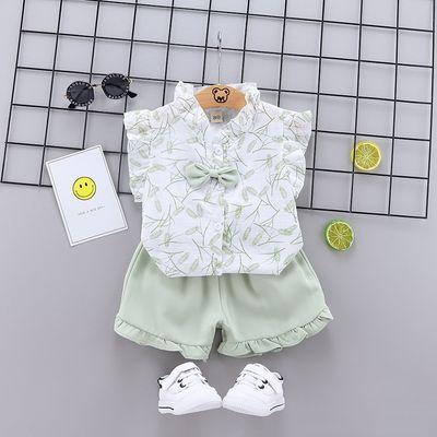 童装2020夏季新款儿童 1-3岁韩版服饰批发女童麦穗飞袖短袖两件套