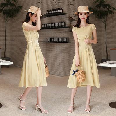 连衣裙女夏季大码收腰显瘦新款设计感小众法式气质长裙纯色黄色裙