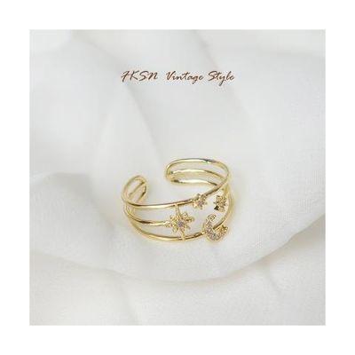 FKSN 日系轻奢戒指可调节戒指满天星锆石开口闺蜜戒指女 一对