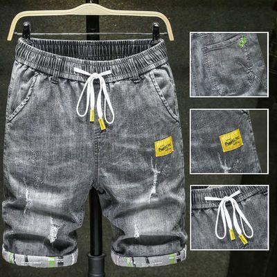 夏季薄款男士五分牛仔裤男短裤破洞潮流宽松大码弹力松紧腰中裤男