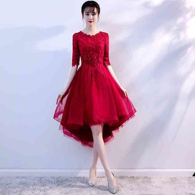 婚纱礼服敬酒服新娘2019红色前短后长回门结婚新款礼服修身显瘦女
