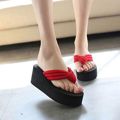 新款高跟厚底拖鞋女夏沙滩防滑人字拖女士学生时尚韩版外穿凉拖鞋