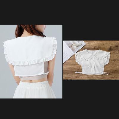 原创新品学院风甜美可爱白色百搭披肩假领子衬衫百褶娃娃领均码女