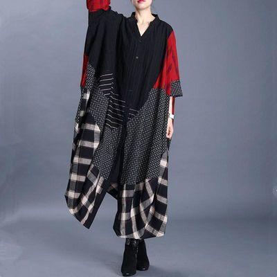 20春夏季新款大码女棉麻格子拼接V领茧型长款外套蝙蝠袖风衣外搭