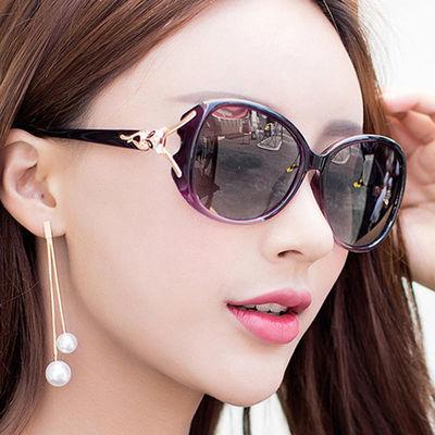 防晒偏光眼镜女 明星款太阳镜圆脸 太阳眼镜狐狸头墨镜女防紫外线