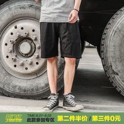 LMTNZD夏季短裤男宽松休闲运动潮流港风卡其色棉麻迷彩五分沙滩裤