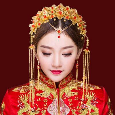 中式汉服新娘头饰套装流苏龙凤褂古风发饰结婚红色古装秀禾服凤冠