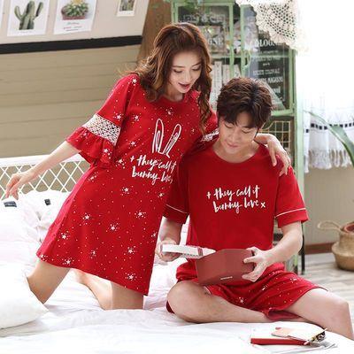 夏季情侣睡衣夏天短袖纯棉男女性感韩版睡裙新娘新婚结婚红色薄款