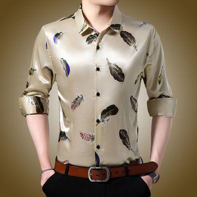 春夏季冰丝衬衫长袖薄款短袖中年男士宽松丝绸商务印花衬衣爸爸装