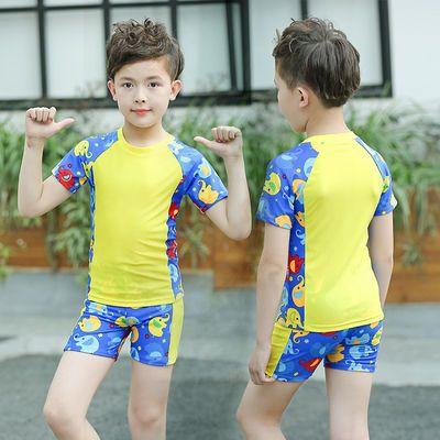 儿童泳衣 男童分体泳装可爱宝宝小中大童温泉泳衣裤套装送泳帽