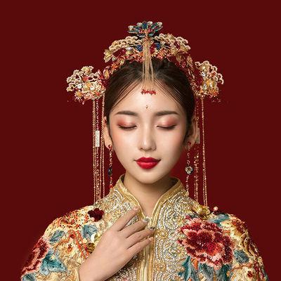 中式汉服新娘头饰中式凤冠龙凤褂发梳结婚红色古装秀禾服凤冠发饰