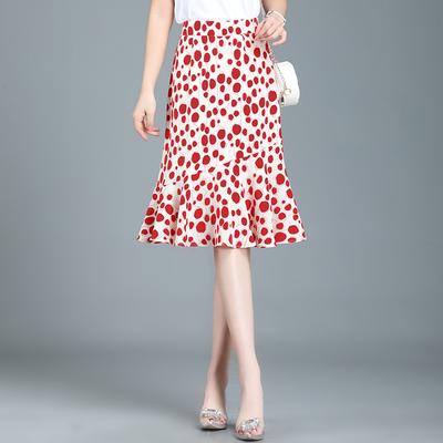 【拉链款】2020春夏雪纺鱼尾裙a字半身短裙中长款高腰显瘦包臀裙