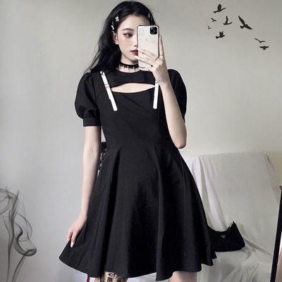 胖mm加肥加大码复古黑色连衣裙女200斤夏季新款收腰显瘦遮肚A字裙