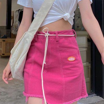 新款半身裙设计感小众半身短裙女不规则a字裙甜美高腰牛仔包臀裙