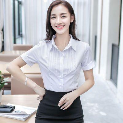 2019新款春夏装女职业衬衫短袖修身简约学生范雪纺打底衫OL长袖