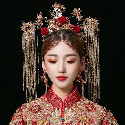 中式新娘秀禾服头饰大气古代皇后结婚发饰步摇流苏古装秀禾凤冠女